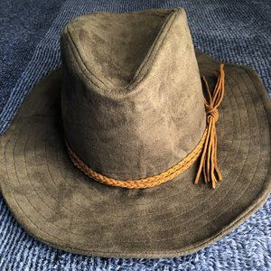 GUESS olive green wide brim hat w rope detail